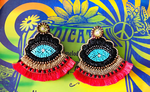 Red Boho Evil Eye Earrings