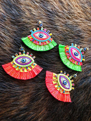Lime green & Pink evil eye earrings