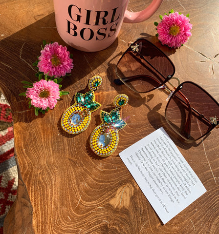 Pineapple Earrings and Brown Bee Sunglasses