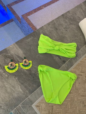 Neon Green Swimsuit and Earrings