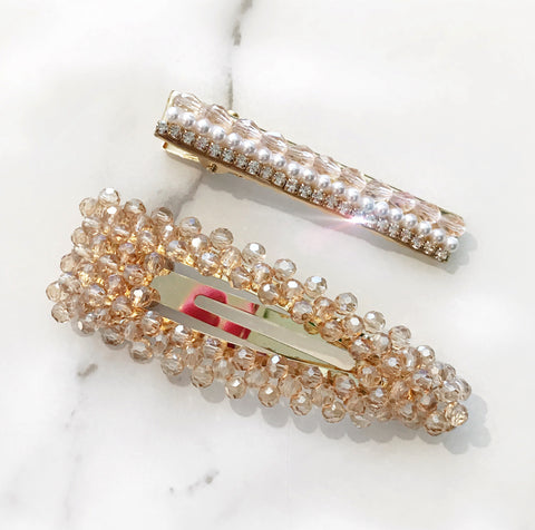 Nude Beaded Crystal Clips