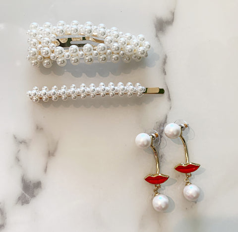Pearl Clips and Lip Earrings