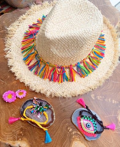 Evil Eye and Butterfly Bracelets and Straw Hat