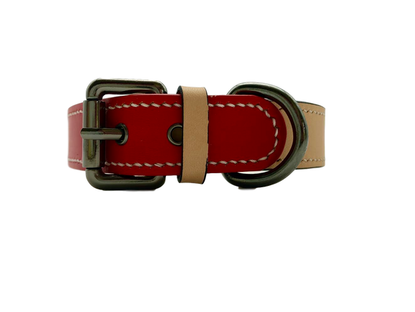 TWO ELEPHANTS: <br>Red Leather Collar