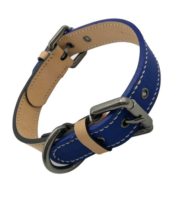 TWO ELEPHANTS: <br>Blue Leather Collar