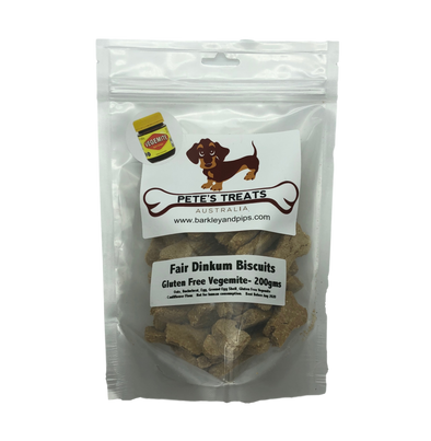 PETES TREATS: <br> Gluten Free Vegemite <br> Dog Biscuits- NEW BETTER VALUE 200gms