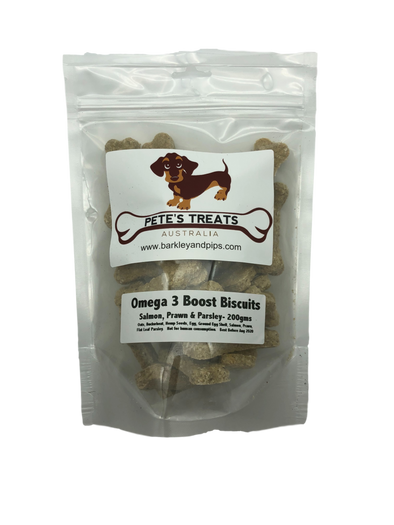 PETES TREATS<br>Omega 3 Boost<br>NEW BETTER VALUE 200gms