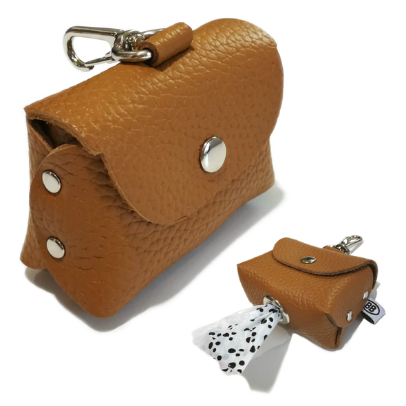 BUDDY BELT<br> Leather Poop Bag Holder <br> Caramel