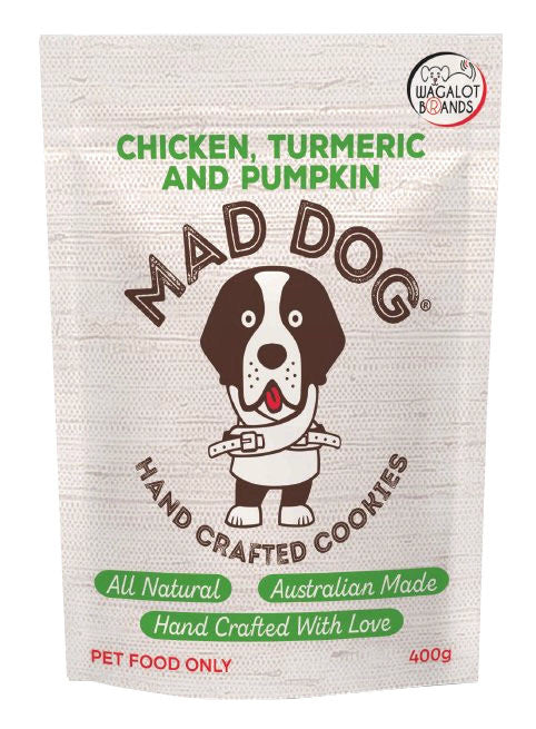 MAD DOG: Chicken, Pumpkin & Turmeric <br> Cookie Treats<br>400gms
