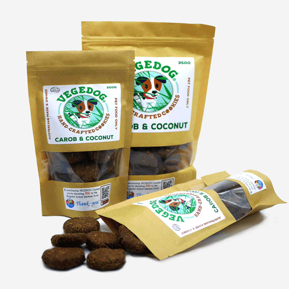VEGEDOG: Carob & Coconut Treats <br> Vegan friendly 200gms