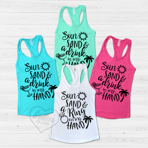 16ed87e83d6ec1 Sun Sand and a Ring on My Hand Beach Bachelorette Party Shirts ...