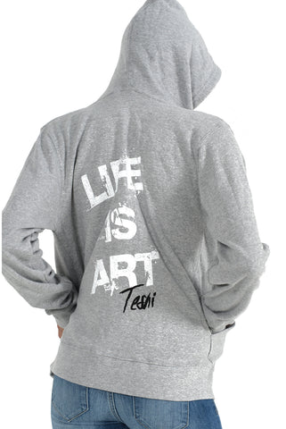 LIFE IS ART UNISEX Light Grey Hoodie