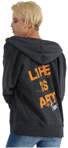 LIFE IS ART UNISEX Charcoal Amber Hoodie