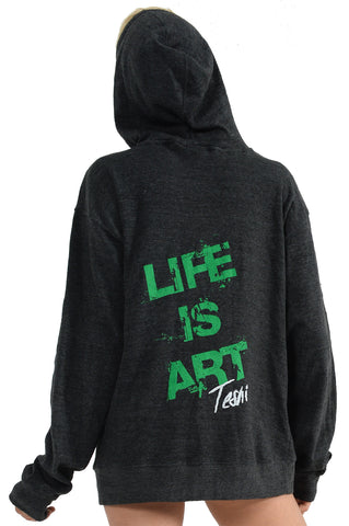 LIFE IS ART UNISEX Charcoal Green Hoodie