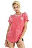 LOVE FREEDOM HUMANITY Vintage Wash Tee Shirt- Red