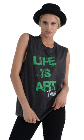 LIFE IS ART UNISEX CHARCOAL/GREEN TANK TOP