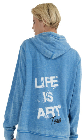 LIFE IS ART UNISEX Light Blue Burnout Hoodie