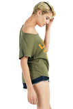 LOVE FREEDOM HUMANITY Draped Tee - Olive