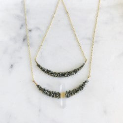 Crystal and Pyrite Crescent Necklace