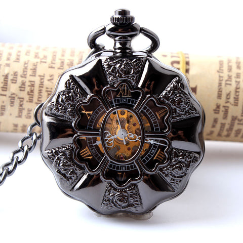 Black Steel Steampunk Pocket Watch (Mechanical Skeleton Watch)