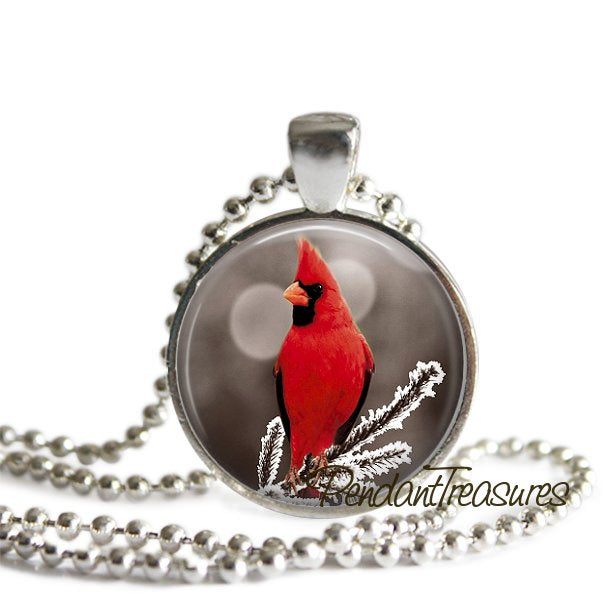 RED CARDINAL Pendant Necklace Bird Jewelry, Winter Bird Snow Scene, Cardinal Charm Glass Photo Art Necklace Woodland Jewelry