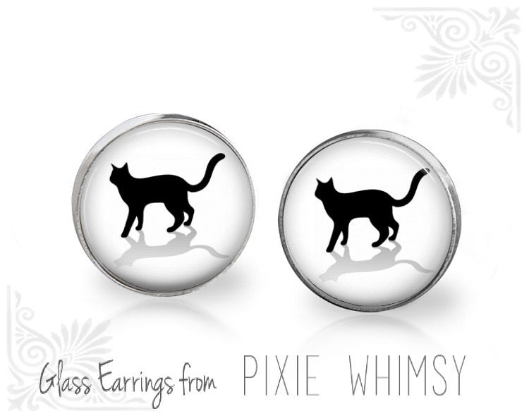 CAT Earrings, Black Cat Earrings, Cat Jewelry, Cat Stud Earrings, Cat Post Earrings, Stud Earrings, Post Earrings, Pierced Earrings, Cat