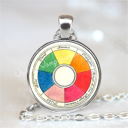 Color Wheel Necklace, Artists Jewelry, Art Teacher Gift, Art Students, Vintage French Color Wheel, Glass Bezel Necklace