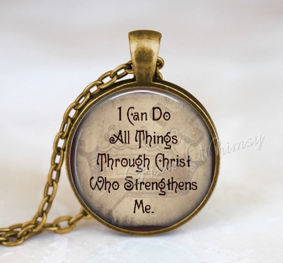BIBLE Verse Necklace, Bible Verse Pendant, Bible Scripture Jewelry, I Can Do All Things Through Christ, Bible Verse Keychain, Christian Gift