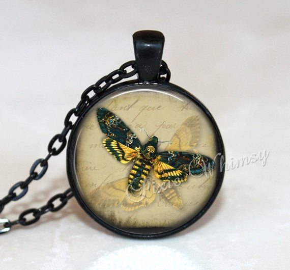DEATH HEAD MOTH Necklace, Death Head Moth Pendant, Moth Keychain, Moth Jewelry, Insect Necklace, Insect Pendant, Hawk Moth, Butterfly, Bug