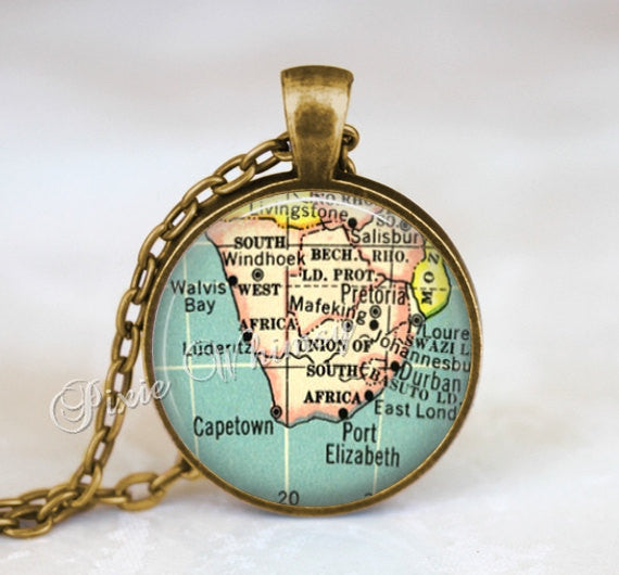 CAPE TOWN MAP Pendant, Cape Town Necklace, Cape Town Map Jewelry, Cape Town Keychain, Cape Town Necklace, South Africa Map Jewelry, Durban