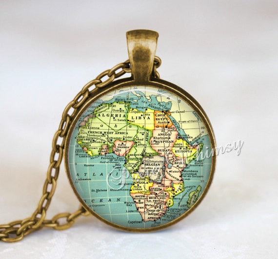 AFRICA MAP Necklace, Africa Necklace, Africa Map Pendant, Africa Map Jewelry, Africa Map Keychain, Vintage Africa Map, Map Pendant Necklace