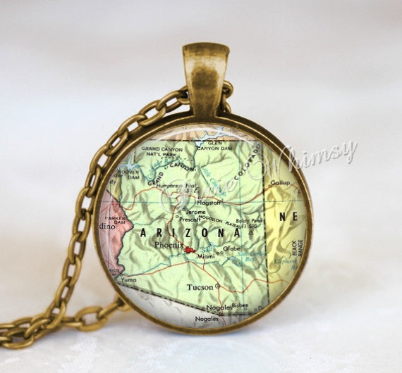 ARIZONA MAP Necklace, Arizona Pendant, Arizona Map Pendant, Arizona Keychain, Arizona Necklace, Arizona Jewelry, Vintage Arizona Map, AZ map