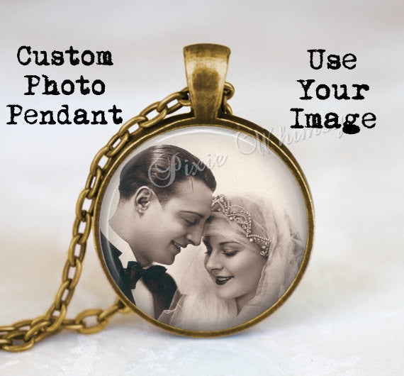 PERSONALIZED PHOTO PENDANT Necklace, Custom Photo Jewelry, Use Your Image, Keepsake Customized Photo Keychain Heirloom Memory Memento