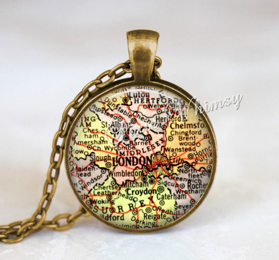 ENGLAND MAP Necklace, London Pendant, London Map Pendant, London Keychain, London Necklace, London Jewelry, London England Map, Vintage Map