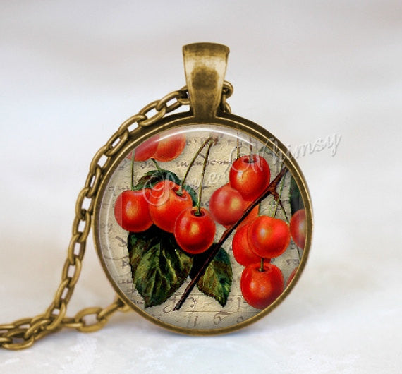 CHERRY Necklace, Cherry Pendant, Cherries Necklace, Cherries Pendant, Cherry Jewelry, Rockabilly Necklace, Cherry Keychain, Fruit Necklace
