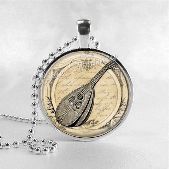 MANDOLIN Necklace, Mandolin Pendant, Mandolin Jewelry, Music Necklace, Mandolin, Orchestra, Music Jewelry, Glass Photo Art Necklace