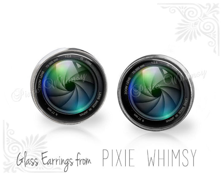 CAMERA LENS Earrings, Camera Lens Stud Earrings, Camera Lens Post Earrings, Camera Lens Stud Earrings, Camera Lens Pierced Earrings, Camera