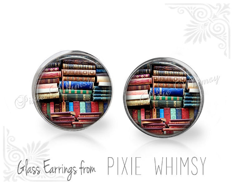 BOOK Earrings, Book Stud Earrings, Book Post Earrings, Book Stud Earrings, Book Pierced Earrings, Library Books, Vintage Book Jewelry, Book