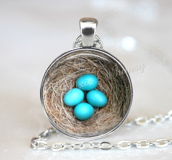 BIRD NEST Necklace, Bird Nest Pendant, Bird Nest Keychain, Robin Eggs, Bird Necklace, Bird Pendant, Bird Necklace, Bird Jewelry, Bird Eggs