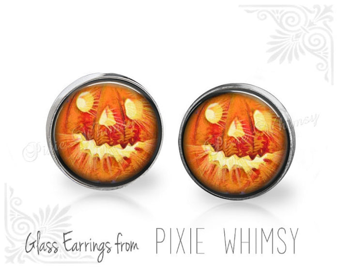 PUMPKIN Earrings, Pumpkin Stud Earrings, Pumpkin Post Earrings, Jack O Lantern Stud Earrings, Pumpkin Pierced Earrings, Vintage Halloween