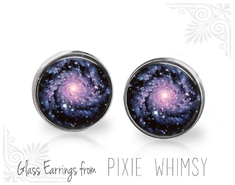 NEBULA Earrings, Galaxy Stud Earrings, Nebula Post Earrings, Stud Earrings, Pierced Earrings, Universe Jewelry, Galaxy Studs, Space Studs