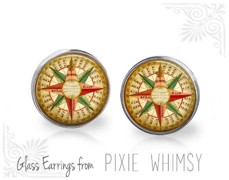 COMPASS Earrings, Compass Stud Earrings, Compass Post Earrings, Stud Earrings, Pierced Earrings, Vintage Compass, Gift for Traveler, Travel
