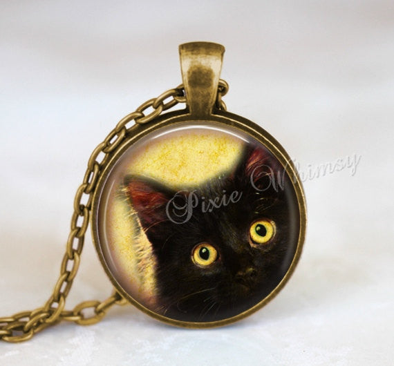 BLACK CAT Necklace, Cat Pendant, Cat Keychain, Cat Charm, Glass Photo Art Necklace Pendant, Black Cat Jewelry, Halloween Necklace, Gothic
