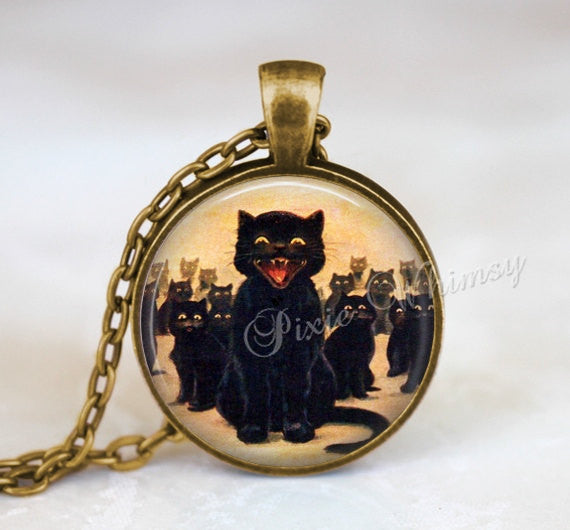 BLACK CAT Pendant Necklace or Keychain, Black Cat Kitten Jewelry, Halloween Jewelry, Gothic Jewelry