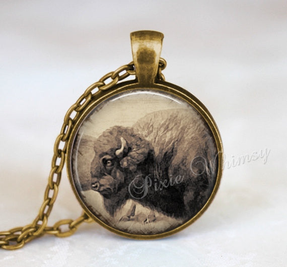 BUFFALO Pendant Necklace Jewelry or Keychain, Vintage Antique Buffalo Print, Bison Necklace, Bison Jewelry, Sepia Art Print, Bison Pendant