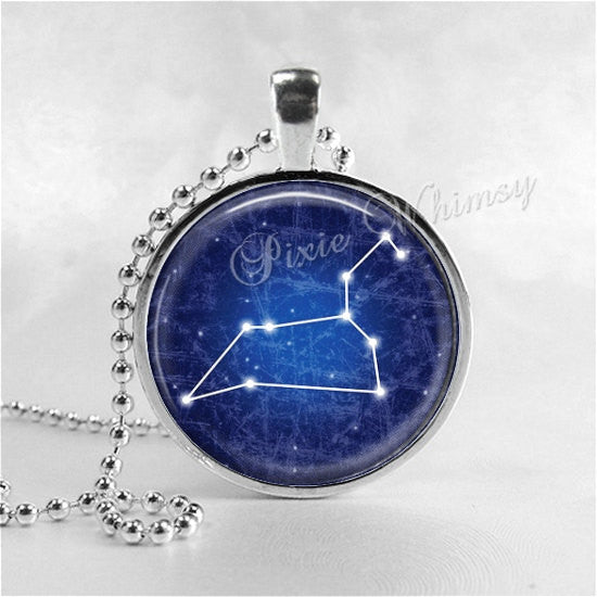 LEO Pendant Necklace Jewelry, Galaxy Astrology Zodiac Constellation, Universe Star Sign, Zodiac Jewelry, Horoscope Lion Necklace