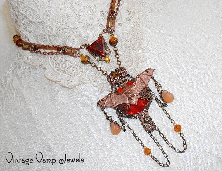 HALLOWEEN STATEMENT NECKLACE Victorian Bat Assemblage One Of A Kind Rhinestone Copper Bib Necklace Bohemian Altered Art Gothic Jewelry
