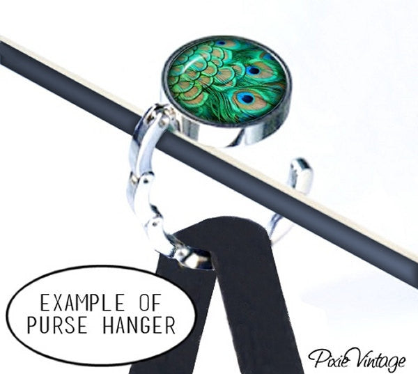 PEACOCK Purse Hook Hanger Holder, Bag Hook, Purse Accessory, Handbag Hanger, Diaper Bag Hanger, Christmas Gift, Bridesmaid Gift