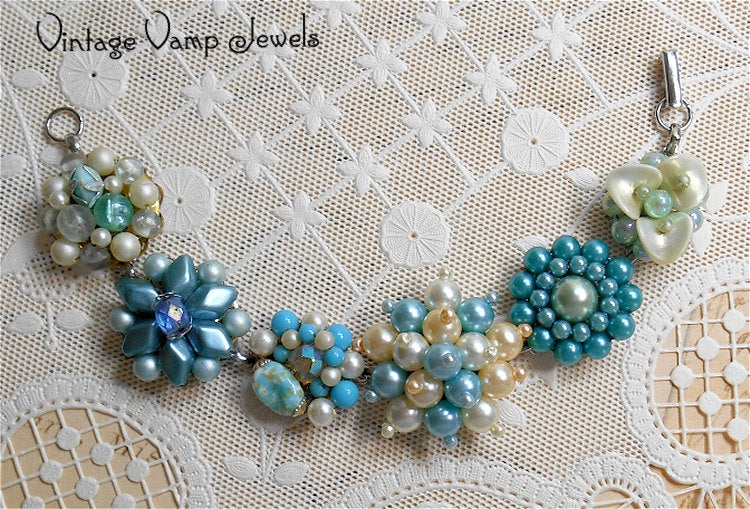 Beaded Cluster Bracelet, Charm Bracelet, Pearls, Aqua, Turquoise Blue, Assemblage Bracelet, OOAK Bracelet, Repurposed Vintage Earrings