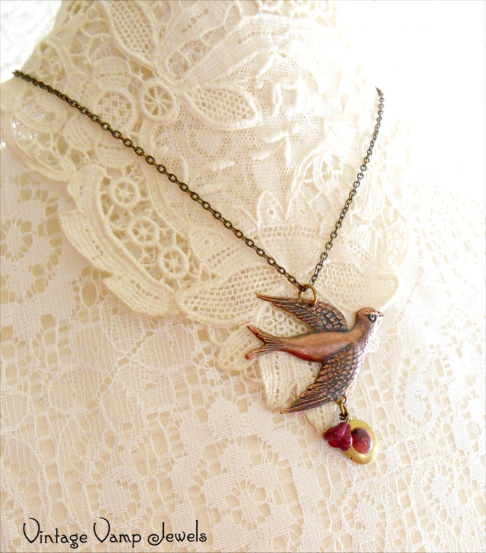 COPPER BIRD Locket Necklace One Of A Kind Assemblage Charm Necklace Bohemian Altered Art Necklace